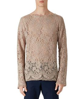 Cotton Lace Shirt, Camel