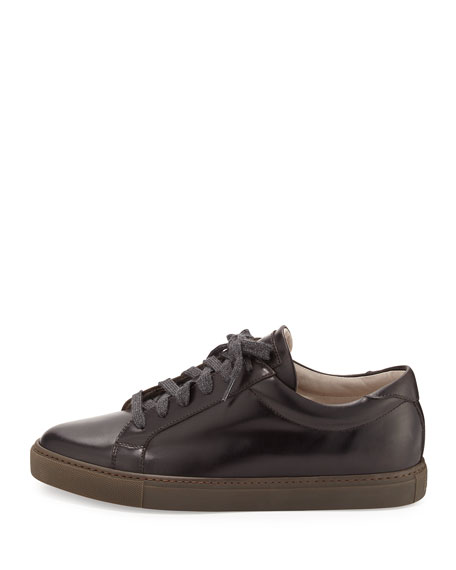 Leather Lace-Up Sneaker, Brown