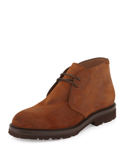 Waxed Suede Chukka Boot, Rust