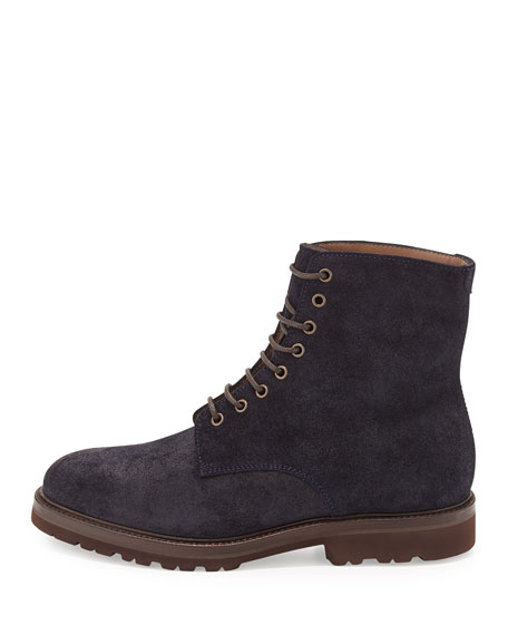 Waxed Leather Lace-Up Hiker Boot, Navy