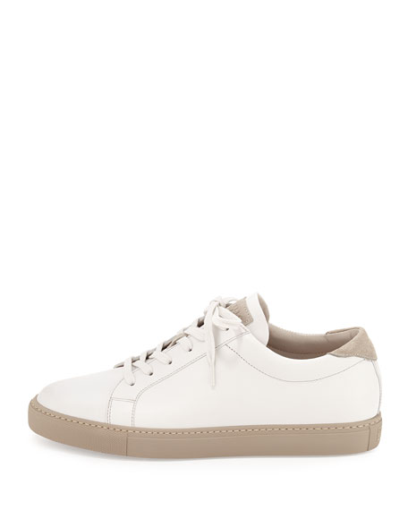 Brunello Cucinelli Leather Lace-Up Sneaker, White
