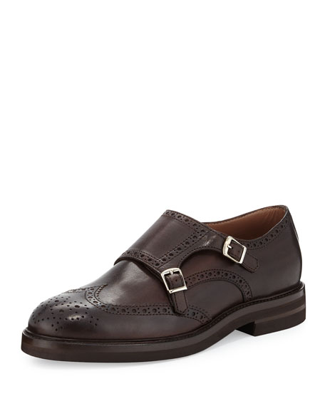 Brunello Cucinelli Leather Monk-Strap Wing-Tip Loafer, Brown