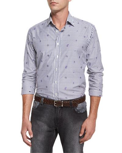 Stripe & Small Paisley-Print Woven Shirt, Gray