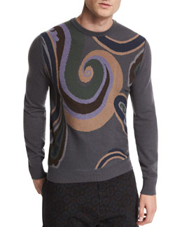Swirl-Print Crewneck Cashmere Sweater, Gray