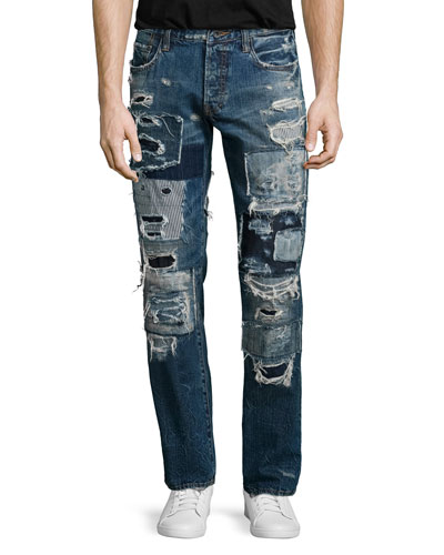 Barracuda Patchwork Distressed Denim Jeans, Indigo