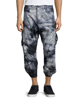 Tie-Dye Cropped Jogger Pants, Black