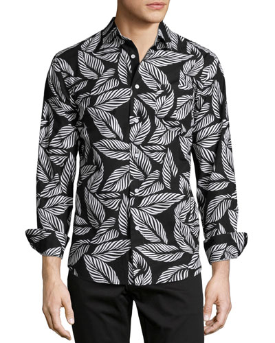 Leaf-Print Long-Sleeve Woven Shirt, Black