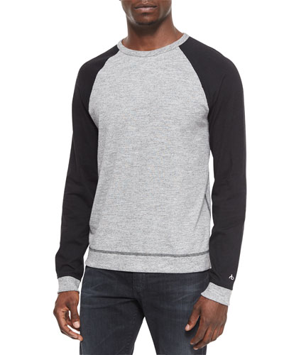 Raglan Long-Sleeve Sweater, Gray
