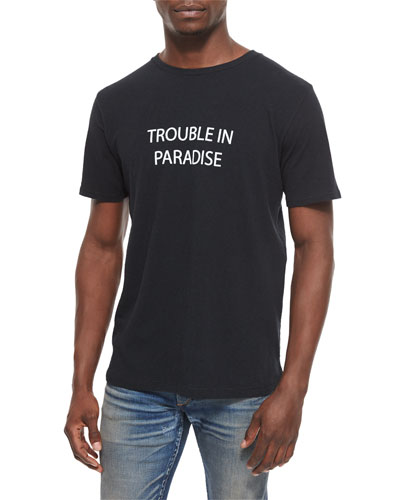 Trouble in Paradise Knit Graphic Tee, Black