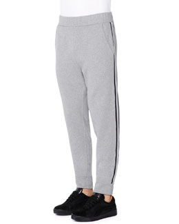 Side-Stripe Fleece Sweatpants, Charcoal