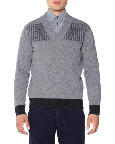 Shetland Wool V-Neck Sweater, Charcoal