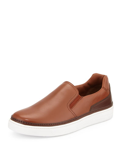 Two-Tone Leather Slip-On Sneaker, Brown