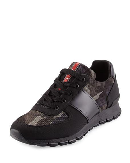 Camo-Print Nylon Running Sneaker, Black/Gray