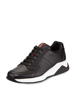 Leather Running Sneaker, Black