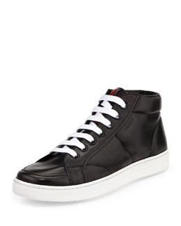 Leather Mid-Top Sneaker, Black