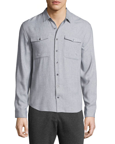 Utility-Pocket Long-Sleeve Shirt, Light Gray