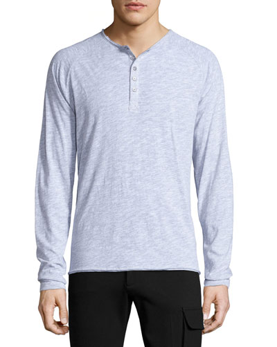 Raglan-Sleeve Slub Henley Shirt, Light Gray