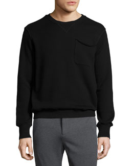 Crewneck Sweatshirt with Pocket, Black