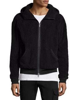 Faux-Fur Hooded Zip-Up Jacket, Black
