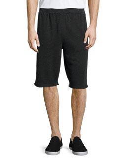 Raw-Edge Knit Sweat Shorts, Charcoal