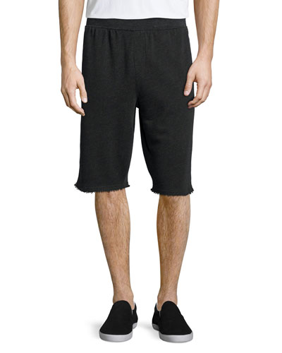 Raw-Edge Knit Sweat Shorts, Charcoal