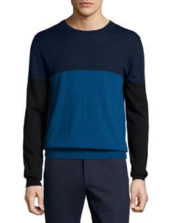 Colorblock Wool Crewneck Sweater, Navy