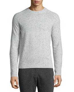 Donegal Cashmere Crewneck Sweater, Dark Gray