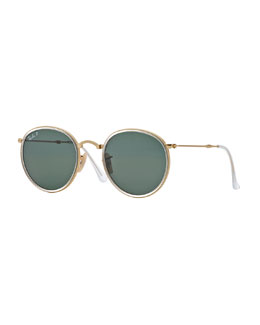 Round Metal Sunglasses, Gold/Green