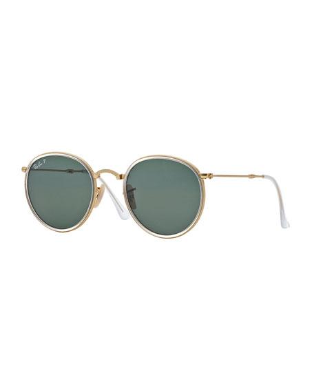 Round Metal Sunglasses, Gold/Blue