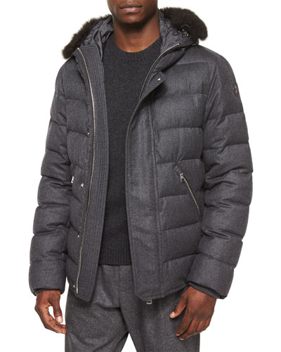 Bernier Fur-Trim Wool Puffer Coat, Dark Gray