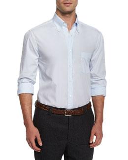 Micro-Stripe Woven Sport Shirt, Light Blue