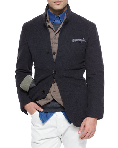 Bruno Three-Button Jacket, Dark Gray