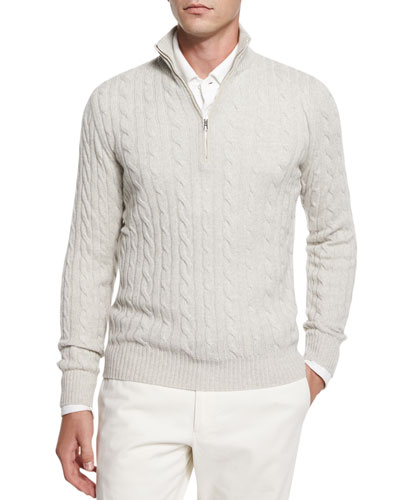 Mezzocollo Cable-Knit Cashmere Pullover, Gray