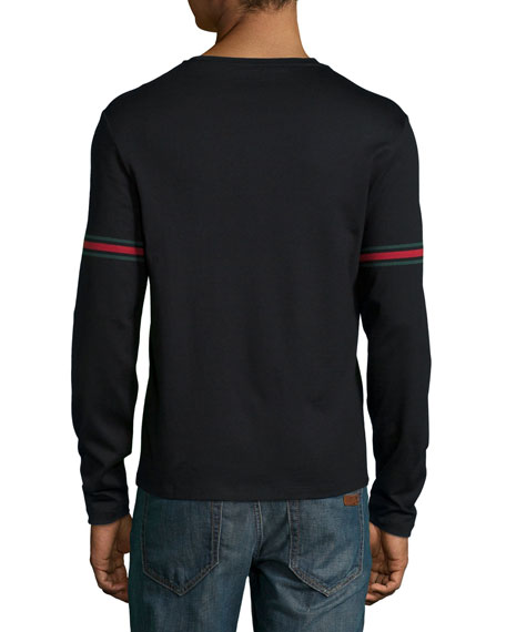 Black Long-Sleeve T-Shirt w/ Green/Red/Green Arm Band