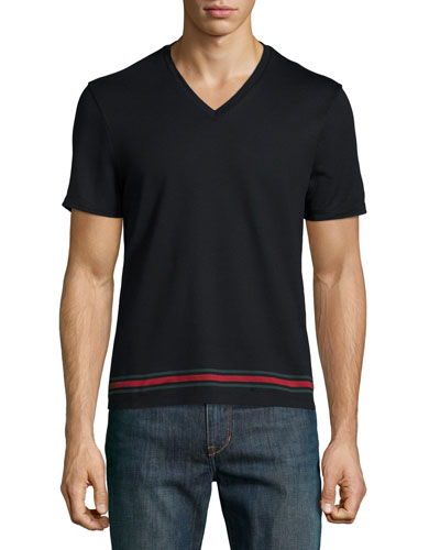 Black V-Neck Short-Sleeve T-Shirt w/ Web Hem