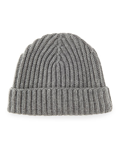 Ribbed Cashmere Beanie Hat, Gray Melange