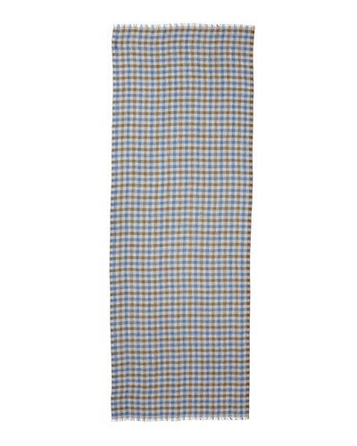 Devon Cashmere Plaid Scarf, Gray