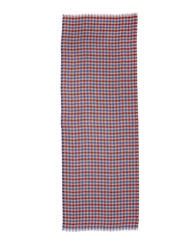Devon Cashmere Plaid Scarf, Blue/Burgundy