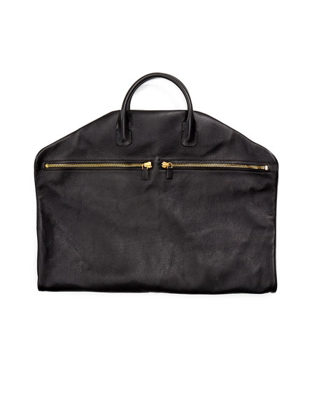 Buckley Soft Leather Garment Bag, Black