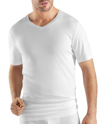 Sea Island Cotton V-Neck Tee, White