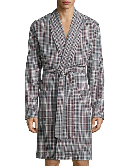 Hanro Emilien Plaid Flannel Robe, Brown/Red