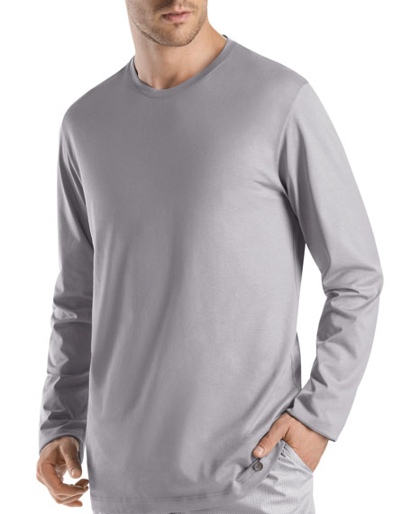 Hanro Night & Day Long-Sleeve Shirt, Gray