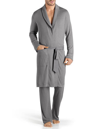Theophile Solid Knit Robe, Gray