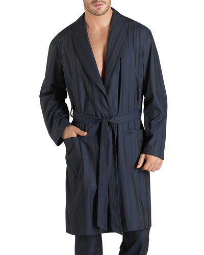 Jules Striped Long Robe, Blue