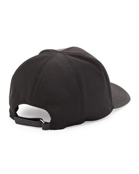 Nylon Logo Baseball Cap, Black
