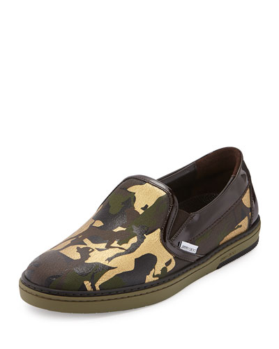 Grove Men's Camo-Print Slip-On Sneaker, Olive