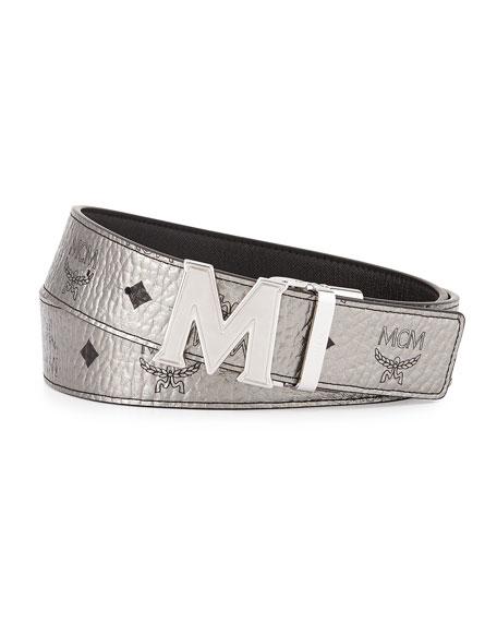Reversible M-Buckle Monogram Belt, Silver/Black