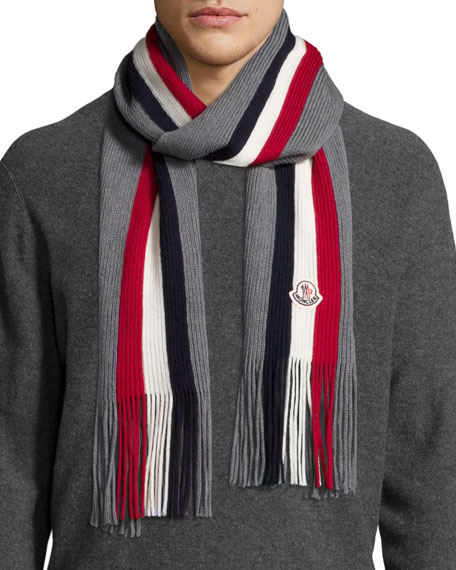 Men's Logo-Striped Fringe Cashmere Scarf, Gray