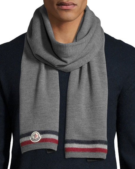 Reversible Cashmere Logo Scarf, Gray