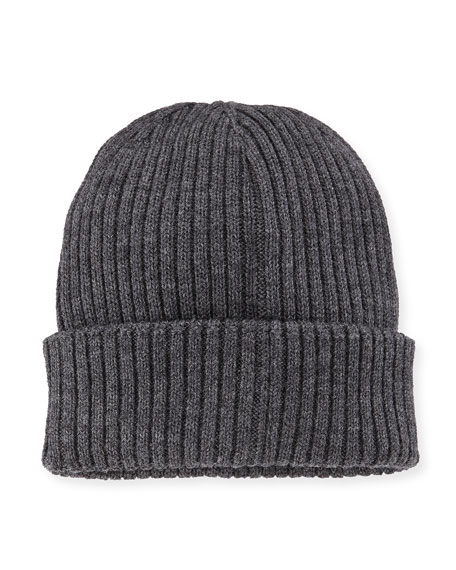 Ribbed Wool Beanie Hat, Gray